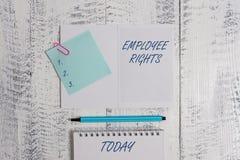 写文本雇员权利的词 所有雇员的企业概念有基本权利在开放他们自己的工作场所 免版税库存照片
