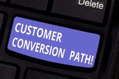 写文本顾客转换道路的词 步的企业概念用户经历了在网站键盘 图库摄影