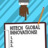 写文本Hitech全球性创新的词 最尖端的涌现的全世界技术胡分析手的企业概念 皇族释放例证