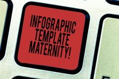 写文本Infographic模板母道的词 母性元素、材料和指南的企业概念 库存照片