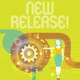 写新的发行的手写文本 宣布概念的意思事报导价值的最近产品或服务妇女 皇族释放例证