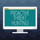 写显示前摄威胁狩猎的笔记 陈列被聚焦的和重复方法的企业照片对寻找 向量例证