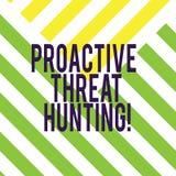 写显示前摄威胁狩猎的笔记 陈列被聚焦的和重复方法的企业照片对寻找 库存例证