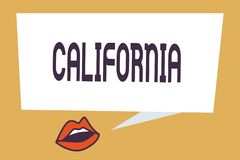 写显示加利福尼亚的笔记 在西海岸美国的企业照片陈列的状态使好莱坞靠岸 免版税库存照片