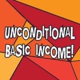写显示无条件的基本的收入的笔记 没有要求的企业照片陈列的有偿的收入工作 皇族释放例证