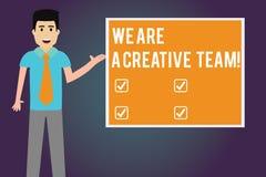 写显示的笔记我们是一个创造性的队 企业照片陈列的创造性配合同事群策群力工作 皇族释放例证