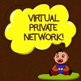 写显示虚拟专用网络的笔记 使用公开导线婴孩,被修建的企业照片陈列的网络 向量例证