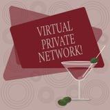 写显示虚拟专用网络的笔记 使用公开导线,被修建的企业照片陈列的网络 库存例证