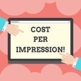 写显示费用每个印象的笔记 企业照片陈列提到登广告者有同意支付的率 皇族释放例证