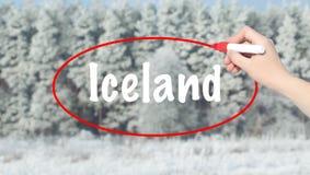 写有一个标志的妇女手冰岛在冬天森林 免版税图库摄影