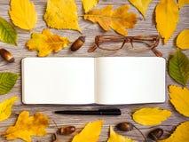 写生簿、玻璃和笔特写镜头,装饰用秋天黄色离开和橡子 顶视图,平的位置 免版税库存照片