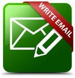 写电子邮件绿色方形的按钮 免版税库存图片