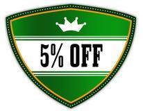 写的5%在有冠的绿色盾 图库摄影