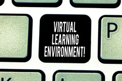 写真正学习环境的手写文本 概念意思基于互联网的平台种类教育技术 免版税库存图片