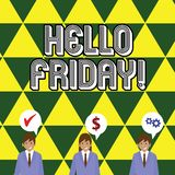 写笔记陈列你好星期五 企业照片陈列用于表示从新星期初期的高兴  库存例证