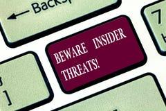 写笔记陈列当心知情人威胁 企业照片陈列是谨慎的在里面的恶意攻击 免版税库存图片