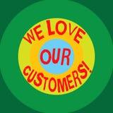 写笔记陈列我们爱我们的顾客 对客户好客服的企业照片陈列的欣赏 库存例证