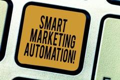 写聪明的销售的自动化的手写文本 概念意思自动化网上市场活动和销售 库存照片