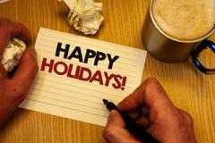 写节日快乐诱导电话的手写文本 概念庆祝欢乐天的意思问候供以人员候宰栏想法 免版税库存图片