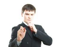 写虚构的文本的成功和精明的商人 免版税库存图片