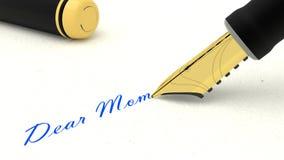 写词亲爱的妈妈的黑钢笔 皇族释放例证