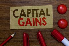 写资本收益的手写文本 概念意思债券份额股票赢利所得税投资基金纸板标志 免版税库存照片