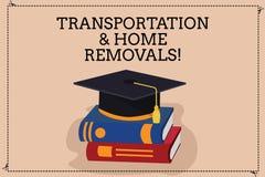 写运输和家庭撤除的手写文本 意味运动的运输的包裹新房颜色的概念 皇族释放例证