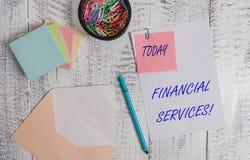 写金融服务的手写文本 意味金钱和投资谎话抵押品发行家的概念 免版税库存图片