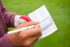 写他的点的高尔夫球运动员在纸 库存图片