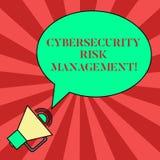 写Cybersecurity风险管理的手写文本 辨认威胁和申请行动的概念意思空白 向量例证