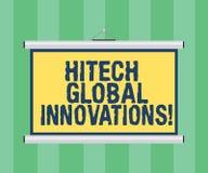 写Hitech全球性创新的手写文本 概念意思最尖端的涌现的全世界技术删去便携式 库存照片