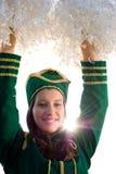 军乐队女队长微笑 免版税图库摄影