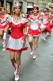 军乐队女队长,啦啦队员在意大利 库存照片
