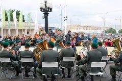 军乐队提洛尔(奥地利)在莫斯科执行 库存图片