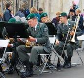 军乐队提洛尔(奥地利)在莫斯科执行 免版税库存图片
