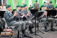 军乐队提洛尔(奥地利)在莫斯科执行 免版税库存照片