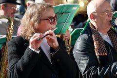 军乐队的音乐家 自由音乐会在公园 免版税库存图片