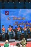 军事乐队在阶段执行 免版税库存照片