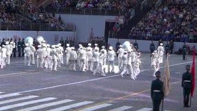 军事乐队Spasskaya塔莫斯科国际节日  股票视频