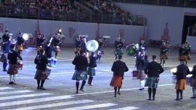 军事乐队Spasskaya塔莫斯科国际节日  影视素材