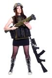 军事伪装的妇女与枪榴弹发射器和  库存图片