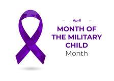 军事儿童丝带的紫色月 图库摄影