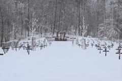 军事公墓,战争公墓,战争公墓冬天,军事公墓冬天,公墓战士冬天雪 库存照片