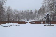 军事公墓,战争公墓,战争公墓冬天,军事公墓冬天,公墓战士冬天雪 免版税图库摄影