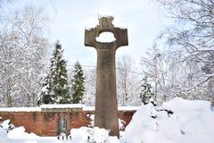 军事公墓,战争公墓,战争公墓门,战争公墓门冬天,战争公墓门冬天森林,战争严重冬天, 库存照片
