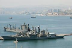军事军舰-瓦尔帕莱索-智利 图库摄影