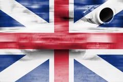 军事力量题材,与大英国fla的行动迷离坦克 免版税库存图片