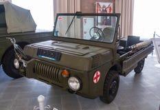 军事博物馆的军事葡萄酒汽车展览,俄罗斯, Ekaterinburg, Verkhnyaya Pyshma, 06 09 2014年 图库摄影