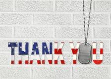 军事卡箍标记感谢您 库存图片