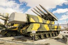 军事历史的博物馆的导弹苏联机器减速火箭的展览,叶卡捷琳堡,俄罗斯, 31 03 2018年 图库摄影